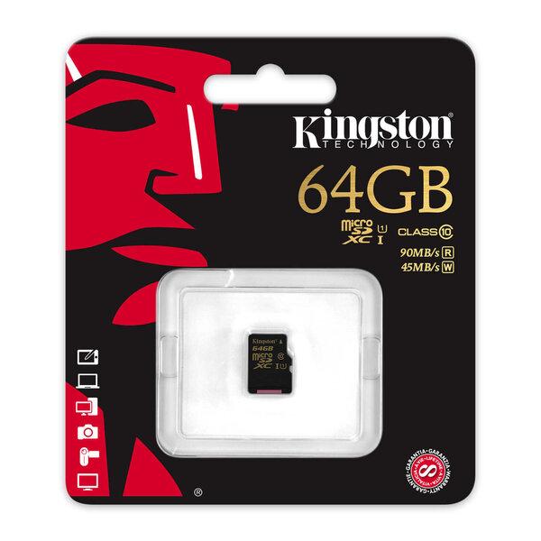 Kingston microSDXC 64 GB, 10 klasės kaina ir informacija | Atminties kortelės telefonams | pigu.lt