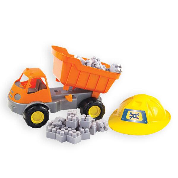 Savivartė mašina su kaladėlėmis ir šalmu Mochtoys 10689 kaina ir informacija | Žaislai berniukams | pigu.lt
