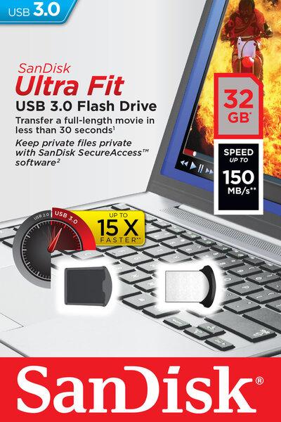 Atmintinė SANDISK 32GB USB3.0 Flash Drive Ultra Fit kaina ir informacija | USB laikmenos | pigu.lt