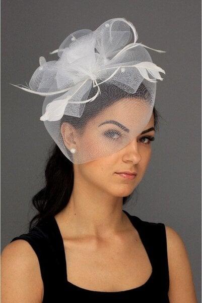 Retro skrybėlaitė, balta kaina ir informacija | Karnavaliniai kostiumai | pigu.lt