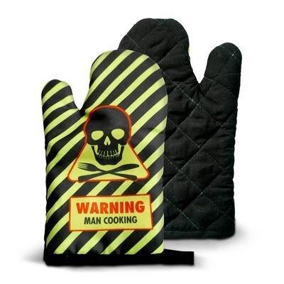 Virtuvinė pirštinė Warning Man Cooking kaina ir informacija | Kitos originalios dovanos | pigu.lt
