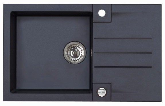 Komplektas: Plautuvė Rock 130 + maišytuvas Janet, Juoda kaina ir informacija | Virtuvinės plautuvės | pigu.lt