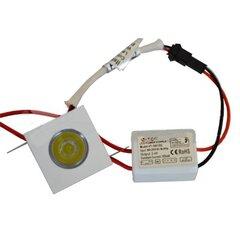 V-TAC LED įmontuojamas šviestuvas, kvadratinis, mažas, 1W