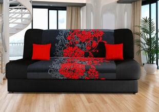 Sofa Jas, juoda/raudona kaina ir informacija | Sofos, foteliai ir minkšti kampai | pigu.lt