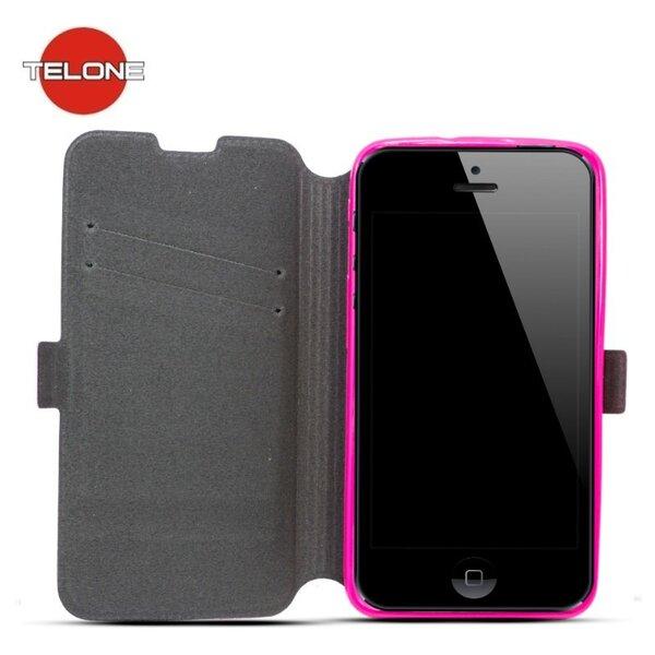 Atverčiamas dėklas Telone Super Slim Shine Book Case skirtas Apple iPhone 6/6S, Rožinė kaina ir informacija | Telefono dėklai | pigu.lt