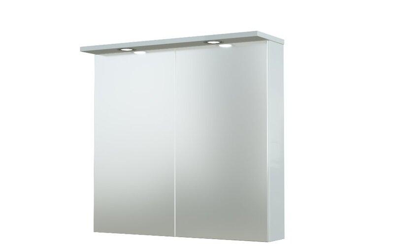 Spintelė su veidrodžiu Allegro 75 cm blizgiai balta kaina ir informacija | Vonios baldai | pigu.lt