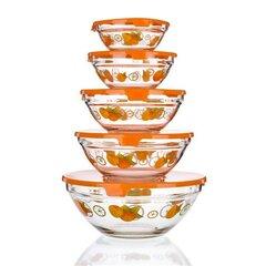 Stiklinių dubenėlių rinkinys Apelsinas, 5 vnt