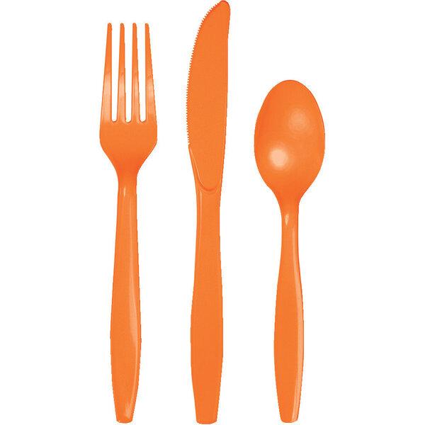 Stalo įrankių rinkinys, oranžinis 8-iems asmenims kaina ir informacija | Dekoracijos, indai šventėms | pigu.lt