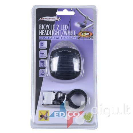 Dviračio priekinis žibintas Bicycle Gear Frontlight solar kaina ir informacija | Dviračių priedai ir aksesuarai | pigu.lt