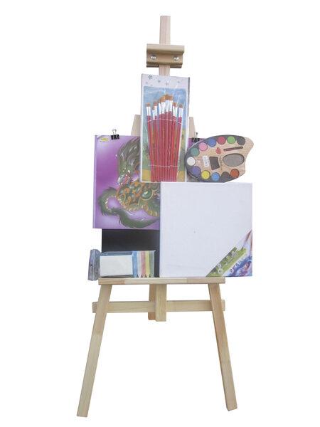 Molbertas su priedais 130cm 3toysm, S130-2, natūralios medžio spalvos kaina ir informacija | Lavinamieji žaislai | pigu.lt