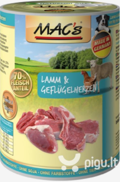 Mac's Dog Lamb & Poultry Hearts 800 g kaina ir informacija | Konservai šunims | pigu.lt