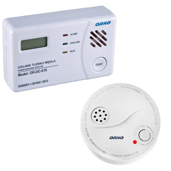 Dūmų ir smalkių detektorių komplektas: Orno OR-DC620+OD-DC-605 kaina ir informacija | Dūmų detektoriai | pigu.lt