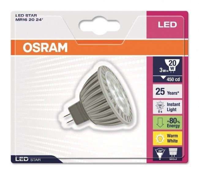 LED lemputė OSRAM 3W 24° 8/27 GU5.3 kaina ir informacija | Elektros lemputės | pigu.lt