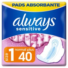 Higieniniai paketai Always Sensitive Ultra Normal Plus 40 vnt. kaina ir informacija | Higieniniai paketai Always Sensitive Ultra Normal Plus 40 vnt. | pigu.lt