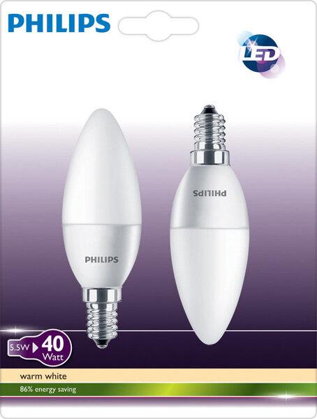 LED lemputė Philips E14 5,5W, 2 vnt. kaina ir informacija | Elektros lemputės | pigu.lt
