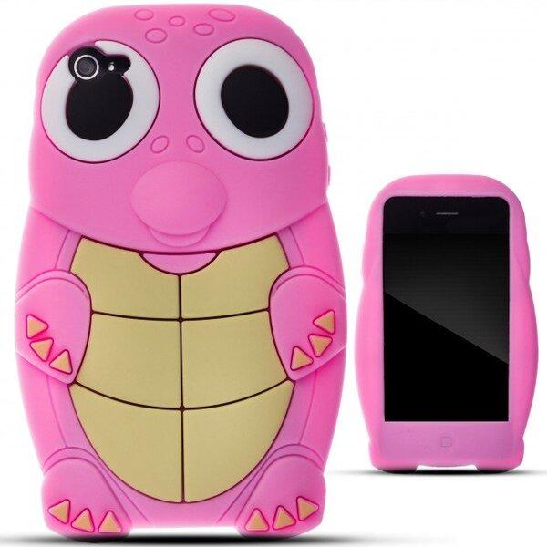 Apsauginis dėklas Zooky skirtas iPhone 4/4S, 3D Vėžliukas, Rožinė kaina ir informacija | Telefono dėklai | pigu.lt