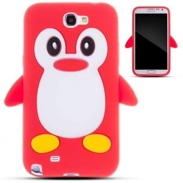 Apsauginis dėklas Zooky skirtas Samsung Galaxy Note 2 (N7100), 3D Pingvinas, Raudona kaina ir informacija | Telefono dėklai | pigu.lt