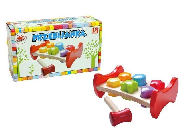 Medinis suoliukas su figūrėlėmis ir plaktuku PlayMe kaina ir informacija | Žaislai kūdikiams | pigu.lt