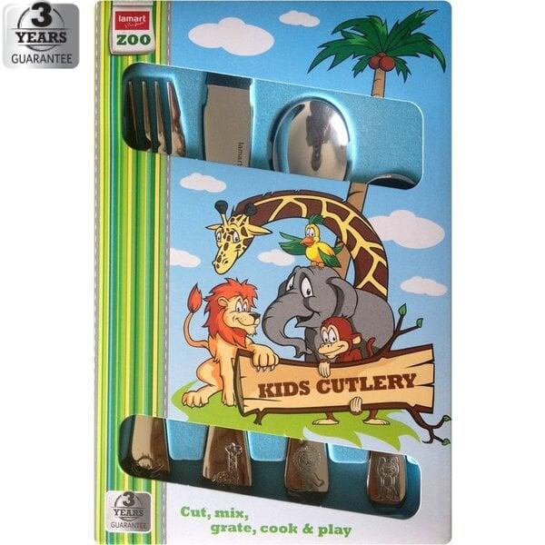 LAMART Zoo vaikiškų įrankių rinkinys, 4 dalių kaina ir informacija | Virtuvės, stalo įrankiai | pigu.lt