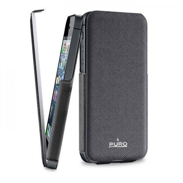 Dėklas PURO ECOLEATHER skirtas iPhone 5,5S/SE (IPC5FLIPBLK) kaina ir informacija | Telefono dėklai | pigu.lt