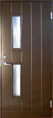 Plieninės įėjimo durys su stakta BASIC B028W95 su stiklu 80D rudos