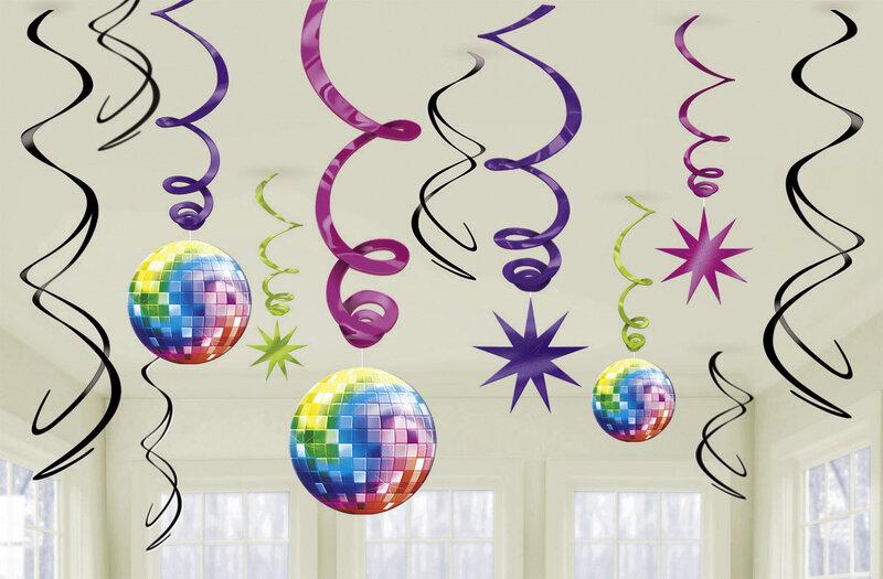 Kabančios dekoracijos Diskoteka 12 vnt. kaina ir informacija | Dekoracijos, indai šventėms | pigu.lt