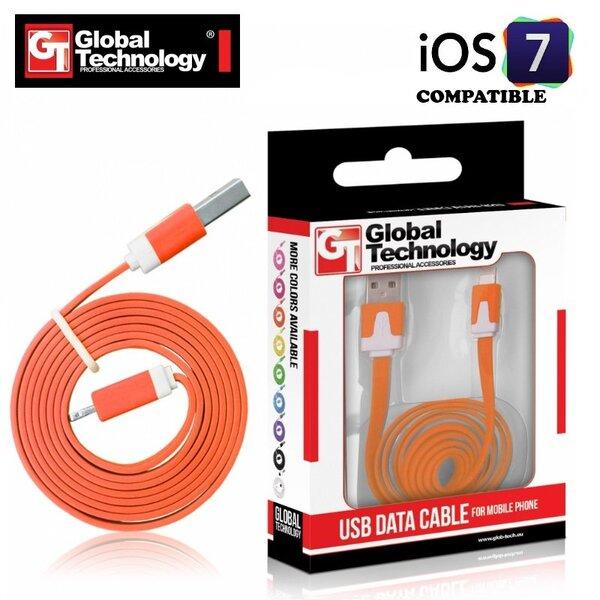GT plokščias ios7 USB Lightning 8pin laidas skirtas Apple produktams, Orandžinis