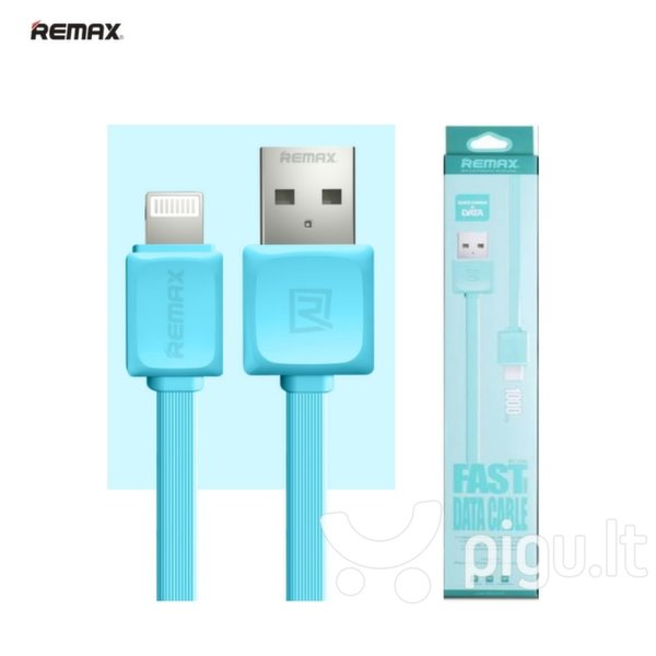 Remax Super Flat Lightning - USB 1m, Mėlynas