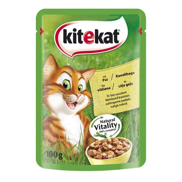 KITEKAT konservuotas ėdalas katėms su vištiena, 100 g kaina ir informacija | Konservai katėms | pigu.lt