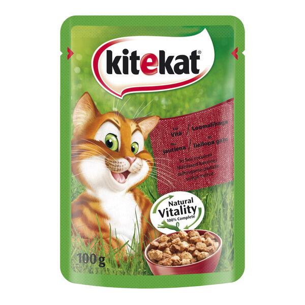 KITEKAT konservuotas ėdalas katėms su jautiena, 100 g kaina ir informacija | Konservai katėms | pigu.lt