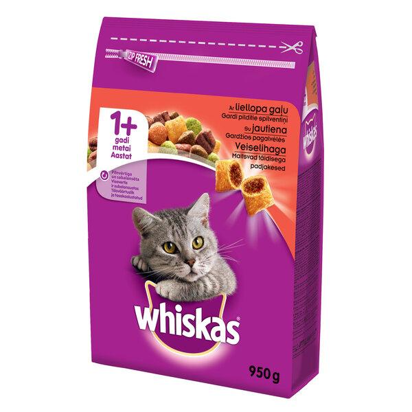 WHISKAS sausas ėdalas katėms su jautiena 950 g kaina ir informacija | Sausas maistas katėms | pigu.lt