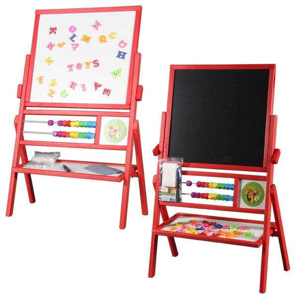 Dvipusė medinė magnetinė piešimo lenta, apverčiama, su laikroduku ir skaitliukais, raudona, TC kaina ir informacija | Lavinamieji žaislai | pigu.lt
