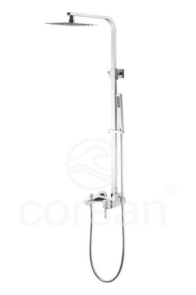 CORSAN QUADRA dušo stovas su maišytuvu kaina ir informacija | Dušo komplektai ir panelės | pigu.lt