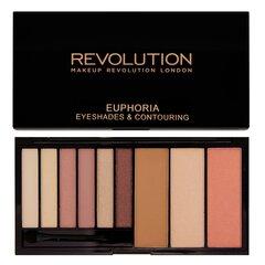 Veido kontūravimo ir akių šešėlių paletė Makeup Revolution London Euphoria 18 g kaina ir informacija | Akių šešėliai, pieštukai, blakstienų tušai | pigu.lt