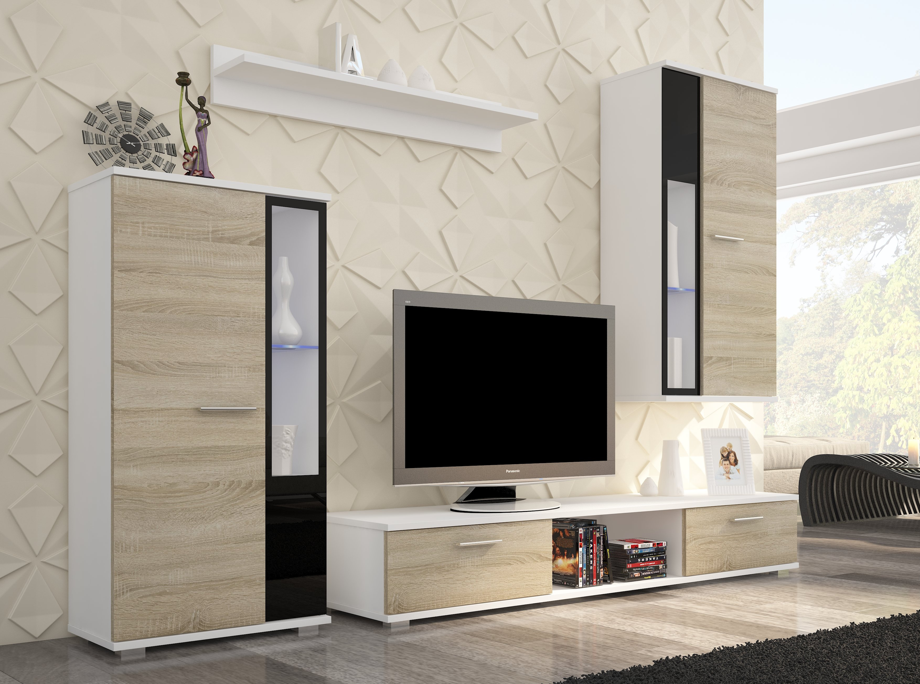 Sekcija Safir, balta/juoda/ruda