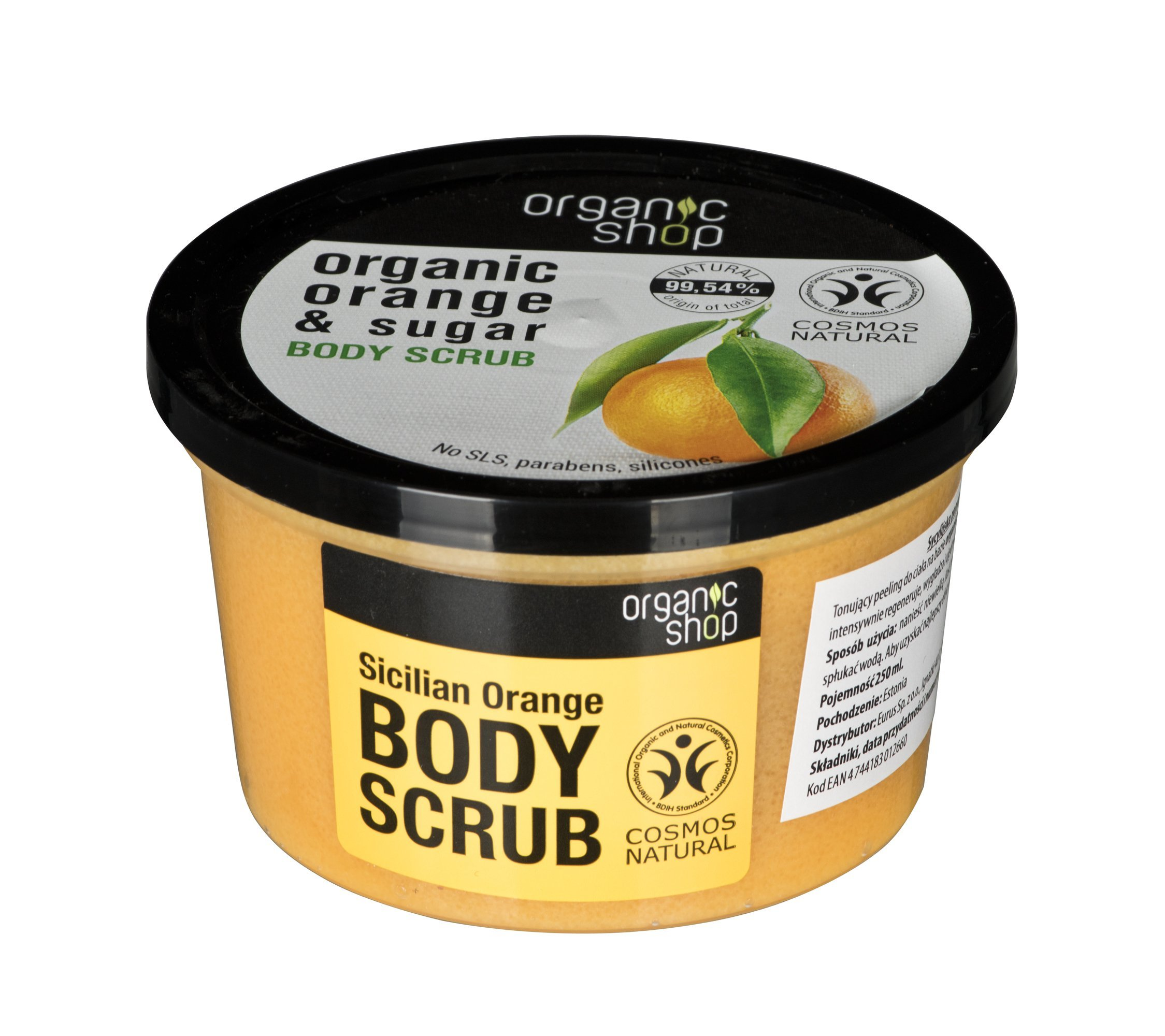 Kūno šveitiklis su apelsinų ekstraktu Organic Shop 250 ml
