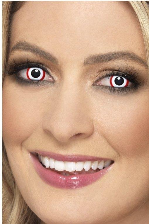 Balti akių lęšiai su raudona juostele
