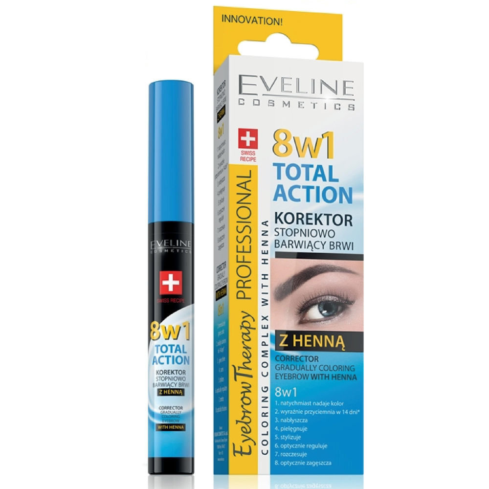 Antakių korektorius-dažai Eveline Eyebrow Therapy Total Action 8in1 10 ml