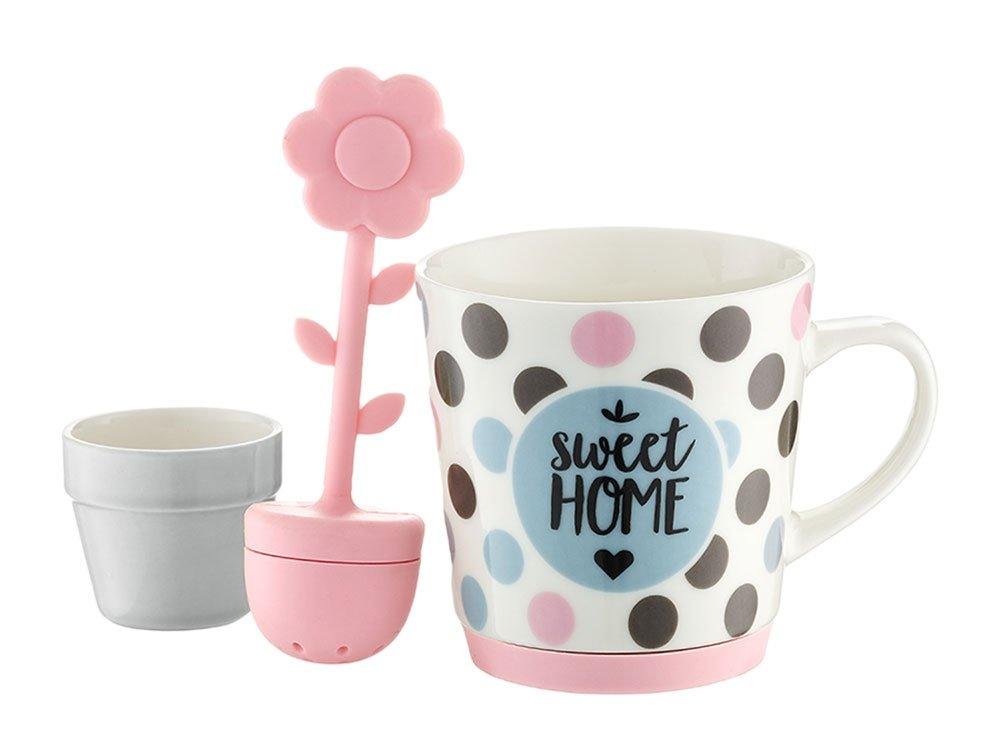 AMBITION puodelis Sweet Žirneliai su sieteliu ir padėkliuku, 290 ml