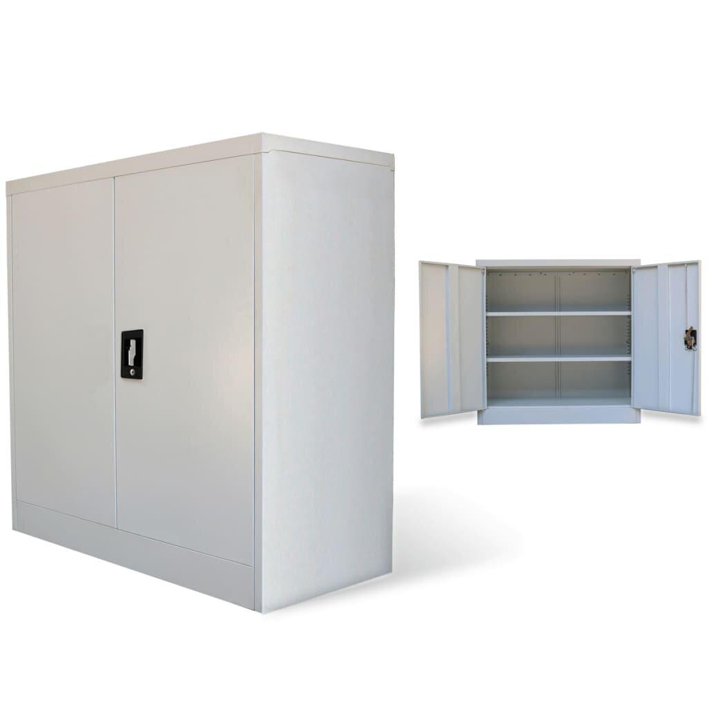 Metalinė biuro spintelė 90 cm, 2 durelės, pilka