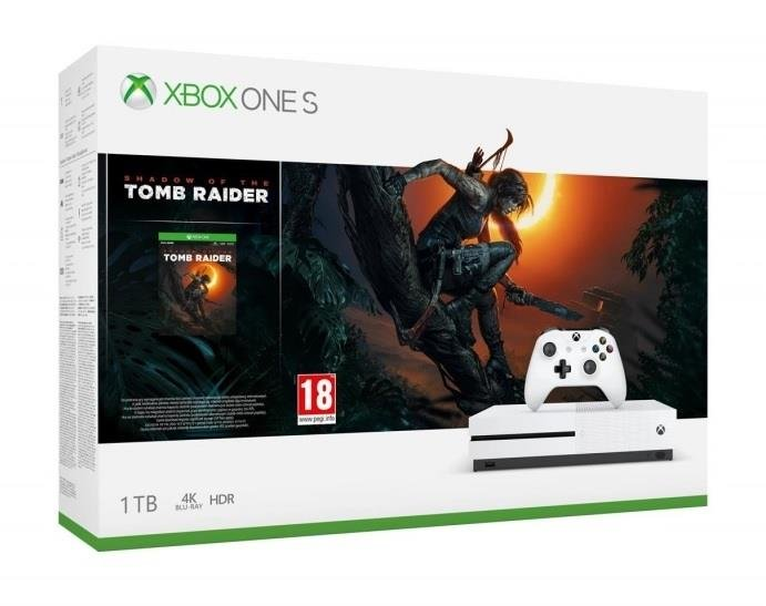 Microsoft Xbox One S 1TB + Žaidimas Shadow of the Tomb Raider