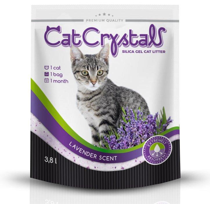 Kačių kraikas Cat Crystals Silika 3,8 L, levandų kvapo