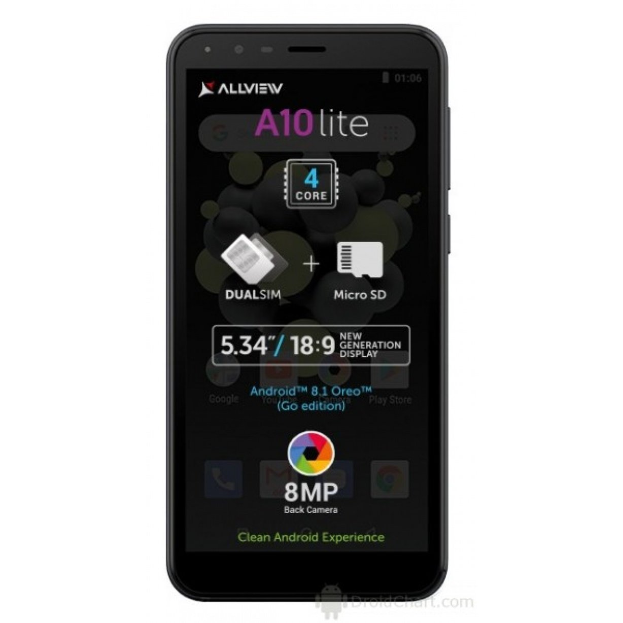 Allview A10 Lite, Dual SIM 1/8 GB, Black