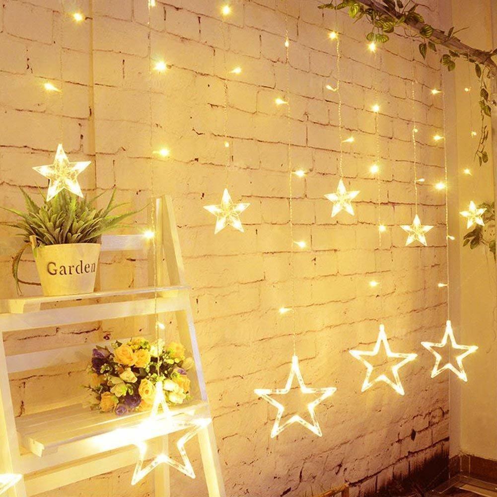 Girlianda žvaigždės LED su 8 mirksėjimo rėžimais, šiltai balta, 2 m