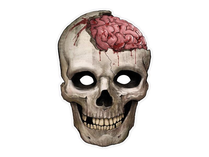 Popierinė kaukė su gumyte Kaukolė, 21x30 cm, 1 vnt