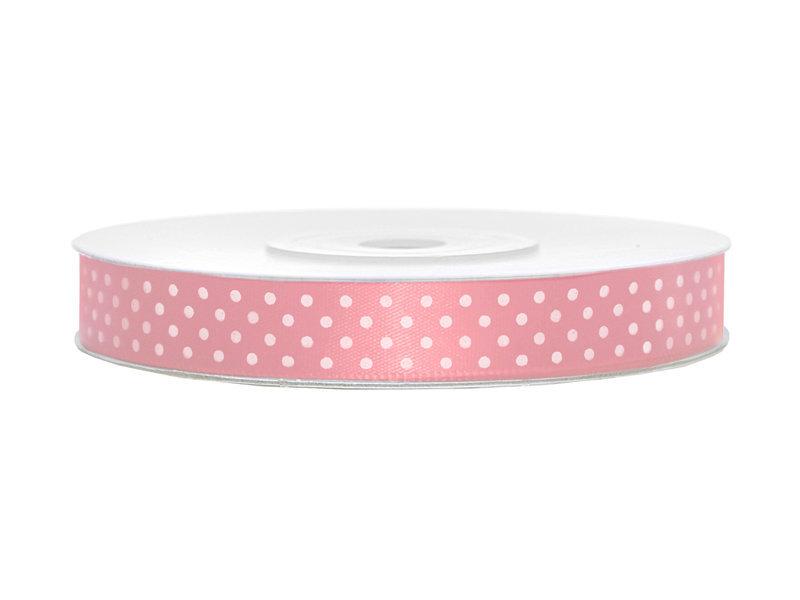 Satino juostelė, šviesiai rožinės spalvos su baltais taškeliais, 12 mm/25 m, 1 vnt/25 m