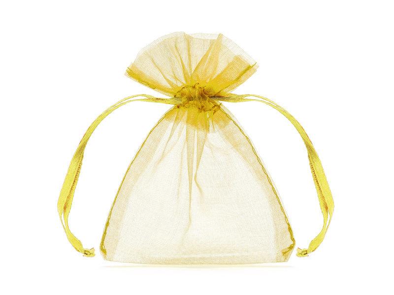 Organzos maišeliai dovanėlėms, permatomi/auksinės spalvos, 7,5x10cm, 1 pak/20 vnt