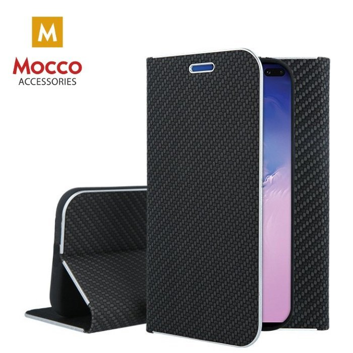 Mocco Carbon Leather Book Case For Samsung A405 Galaxy A40 Black