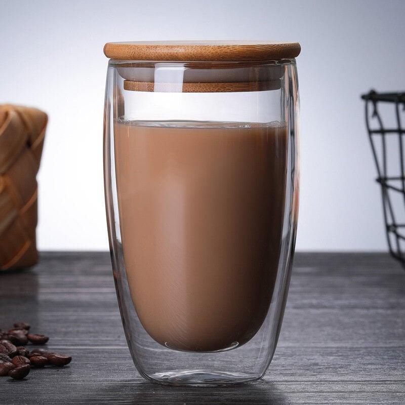 Dvigubo stiklo puodelis su bambuko dangteliu, 450ml, 1 vnt