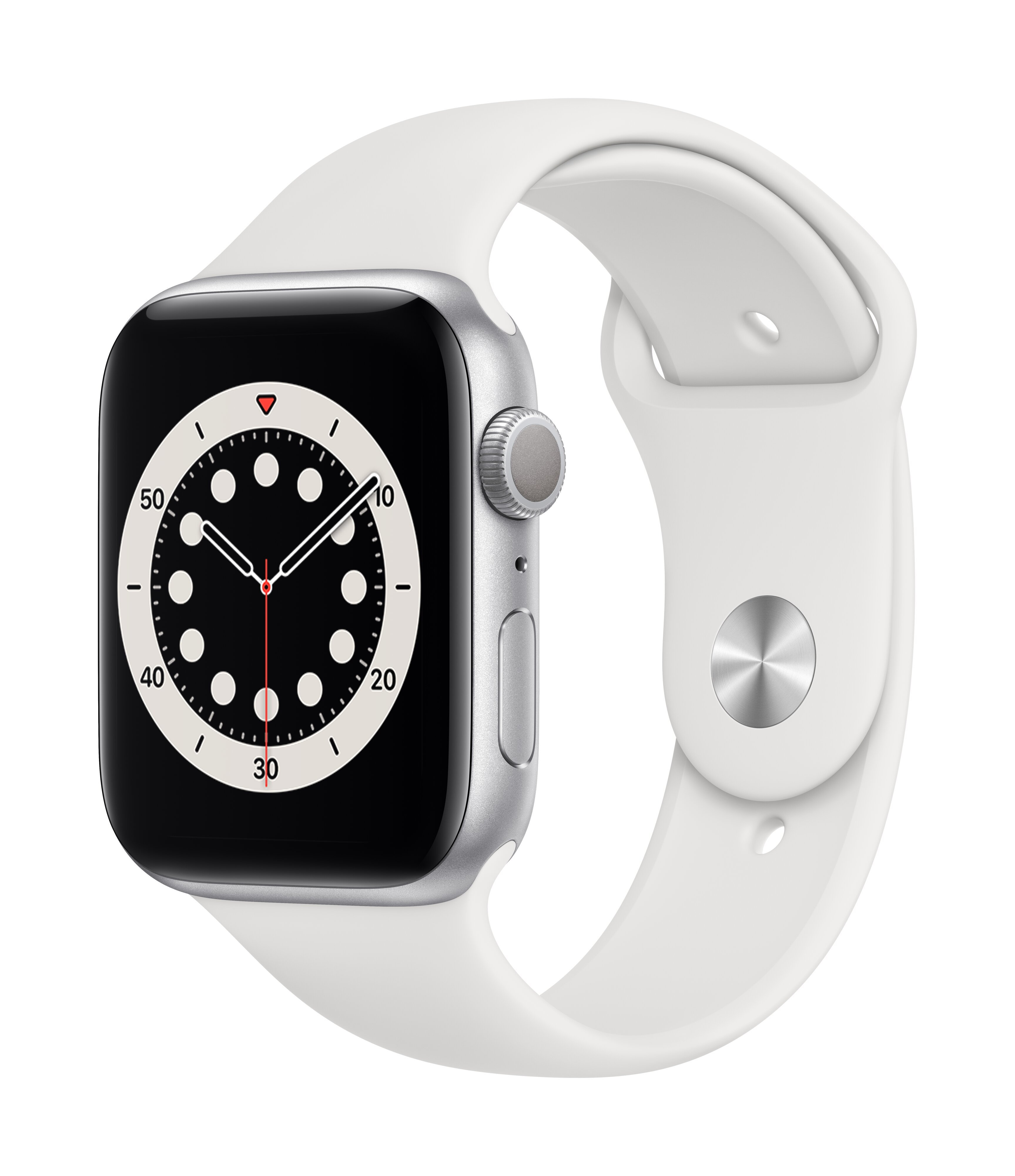 Išmanusis laikrodis Apple Watch Series 6 (GPS, 44 mm) – Silver Aluminum Case with White Sport Band